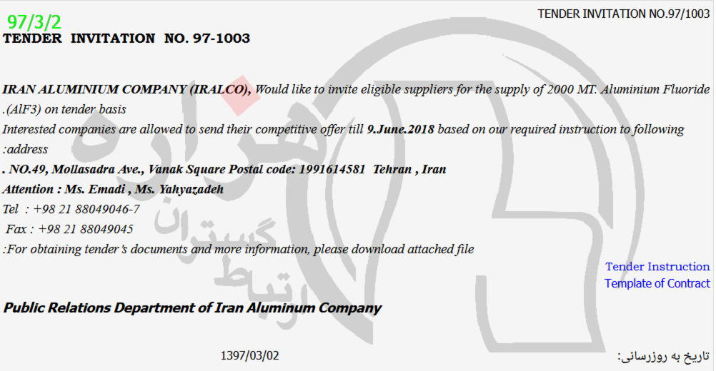 supply of 2000 mt. aluminium fluorie