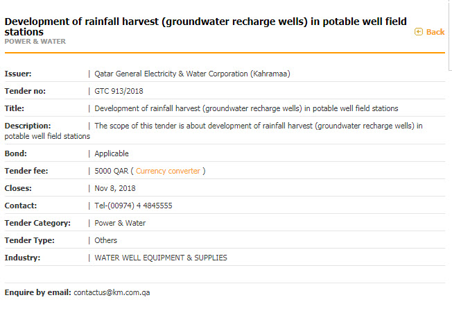 Development of rainfall harvest (groundwater recharge wells) in potable well field stations