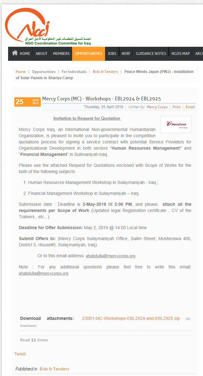 "Workshops""Human Resources Management"" and ""Financial Management"""