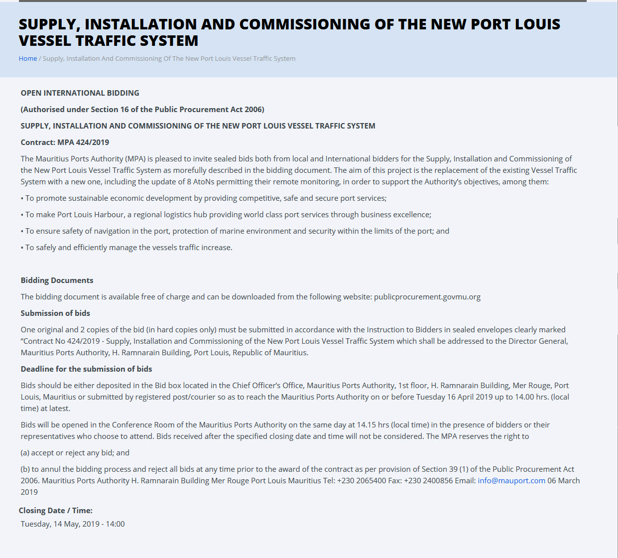 Supply, Installation and Commissioning of the New Port Louis Vessel Traffic System