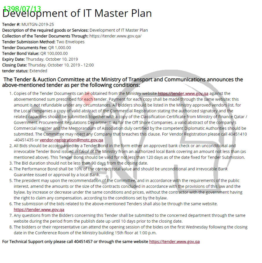 Development of IT Master Plan
