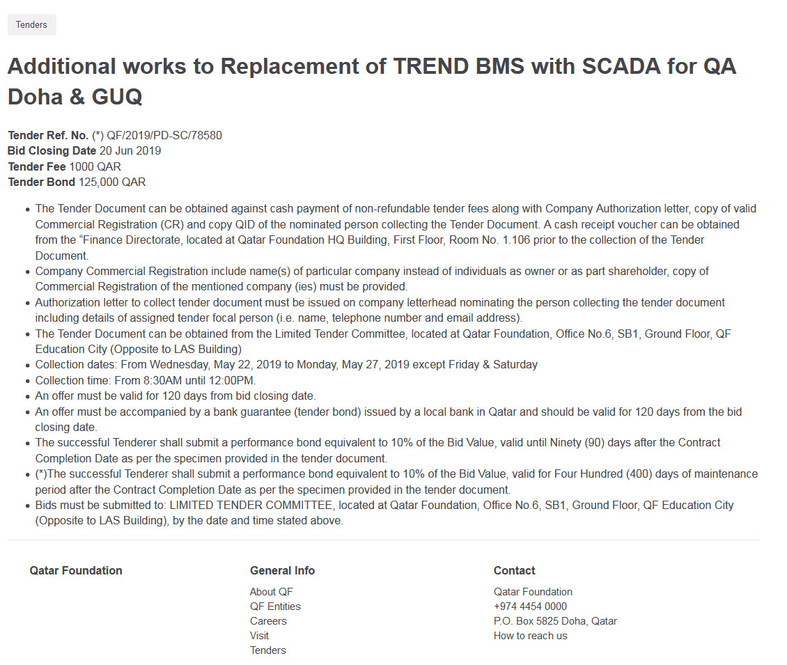 Additional works to Replacement of TREND BMS with SCADA