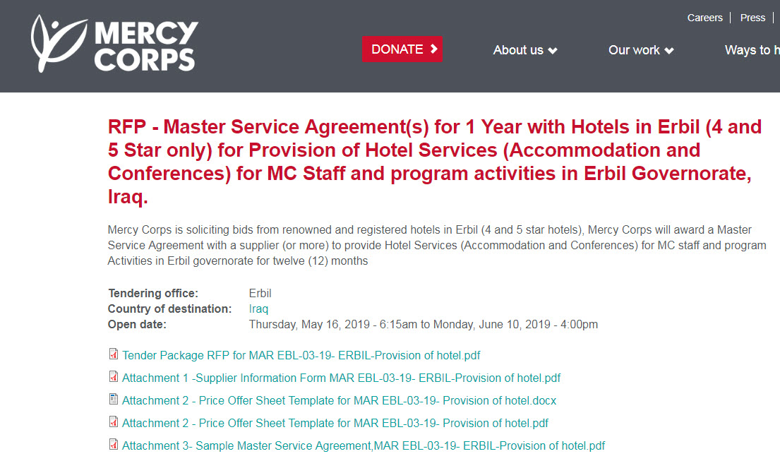 Provision of Hotel Services (Accommodation and Conferences) for MC Staff and program activities