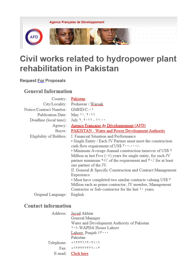 Civil works related to hydropower plant rehabilitation